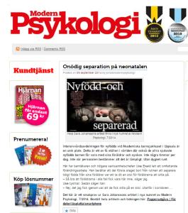 """Artikel med Sara Johansson, """"Nyfödd och separerad"""", i Modern Psykolgi nr 7 2014"""