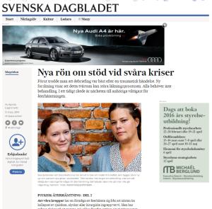 Artikel om krisstöd med Sara Johansson och Sara Hedrenius i SvD