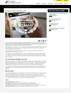 Karin Falkeström projektledare för framtagande av Diös Fastigheters digitala arbetsplats, fick utmärkelsen Nordens Bästa Intranät 2015
