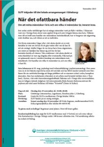 """Inbjudan till föreläsningen """"När det ofattbara händer"""" i Göteborg, arrangerat av Sveriges Läromedelsförfattares Förbund, SLFF"""