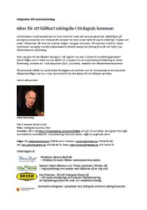 """Inbjudan till seminariet """"Idéer för ett hållbart näringsliv"""" i Strängnäs kommun."""