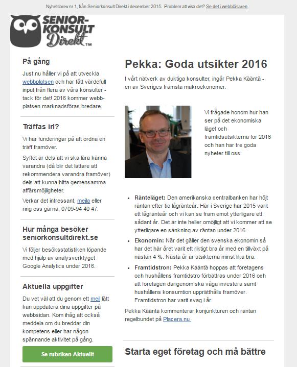 Seniorkonsult Direkt, Nyhetsbrev nr 1 2016