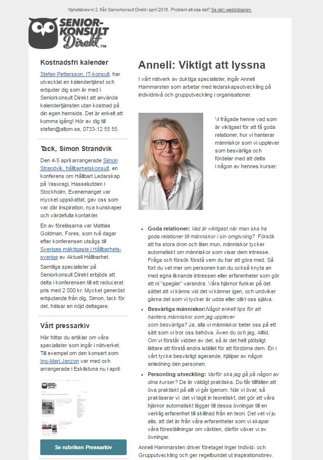 Seniorkonsult Direkt, Nyhetsbrev nr 2, 2016