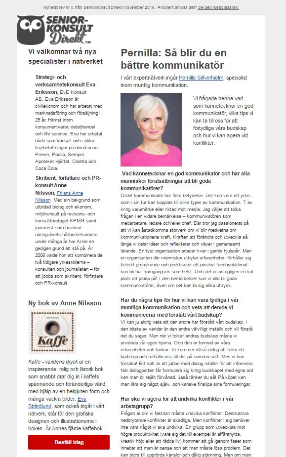 Seniorkonsult Direkt, Nyhetsbrev nr 4 2016